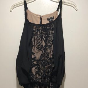 Women's long dress.   BLack and nude lace size 18